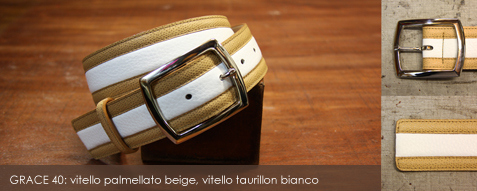 GRACE 40: vitello palmellato beige, vitello taurillon bianco